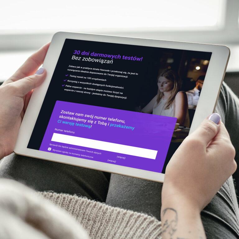 Projekt landing page firmy it #dagma wyświetlony na tablecie