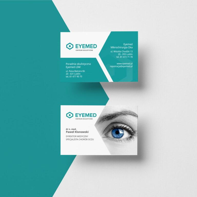 Wizualizacja projektu graficznego wizytówek kliniki okulistycznej #eyemed