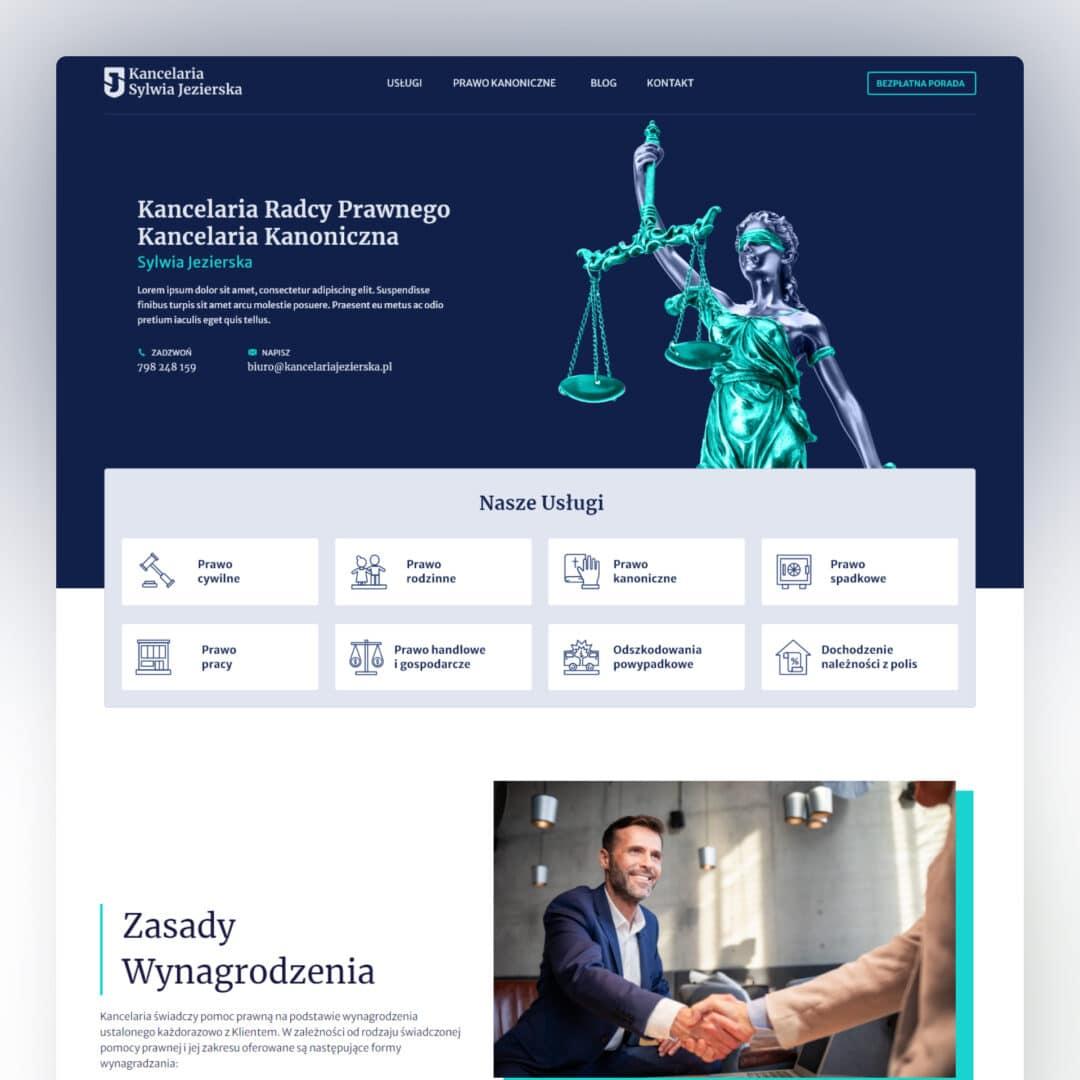 Projekt strony internetowej radcy prawnego Sylwii Jezierskiej