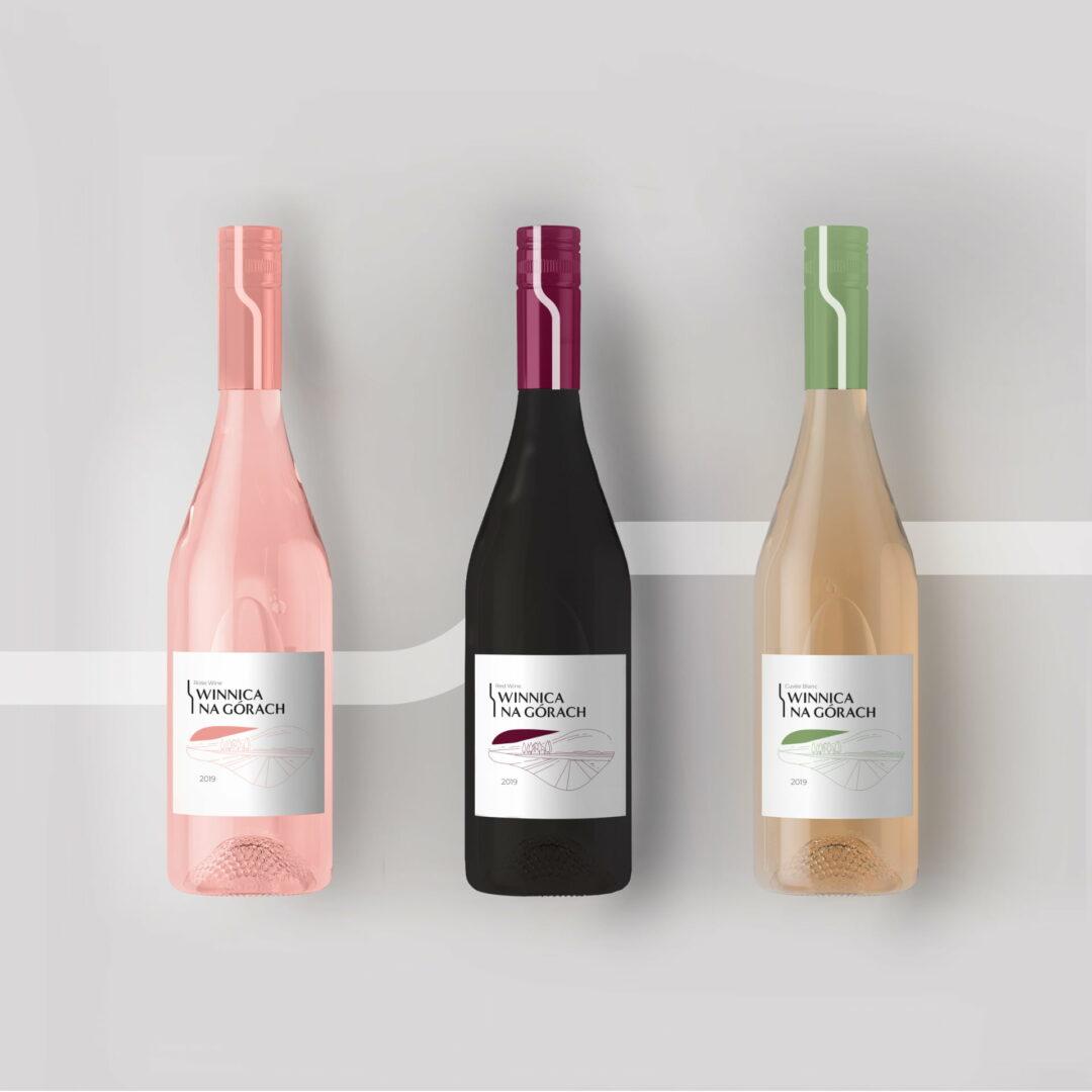 Wizualizacja butelek wina z projektem graficznym etykiety #winnica-na-górach