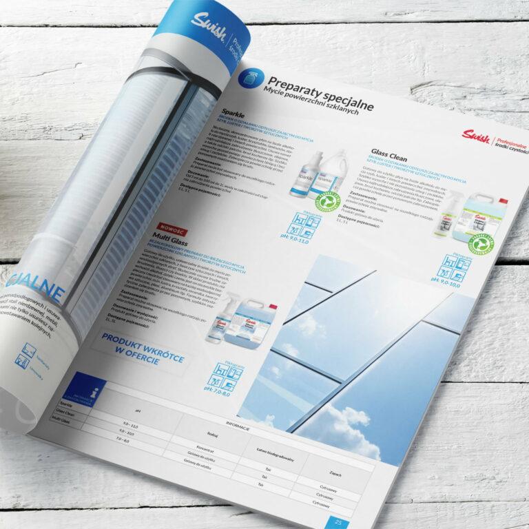 Prezentacja projektu graficznego folderu reklamowego ze środkami czystości firmy #swish