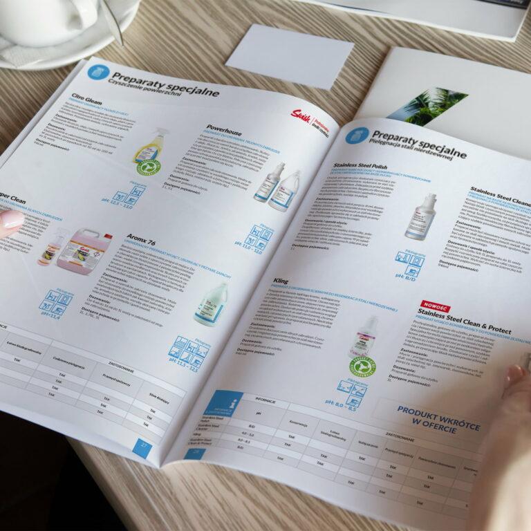 Projekt katalogu produktowego z ofertą środków czystości #swish