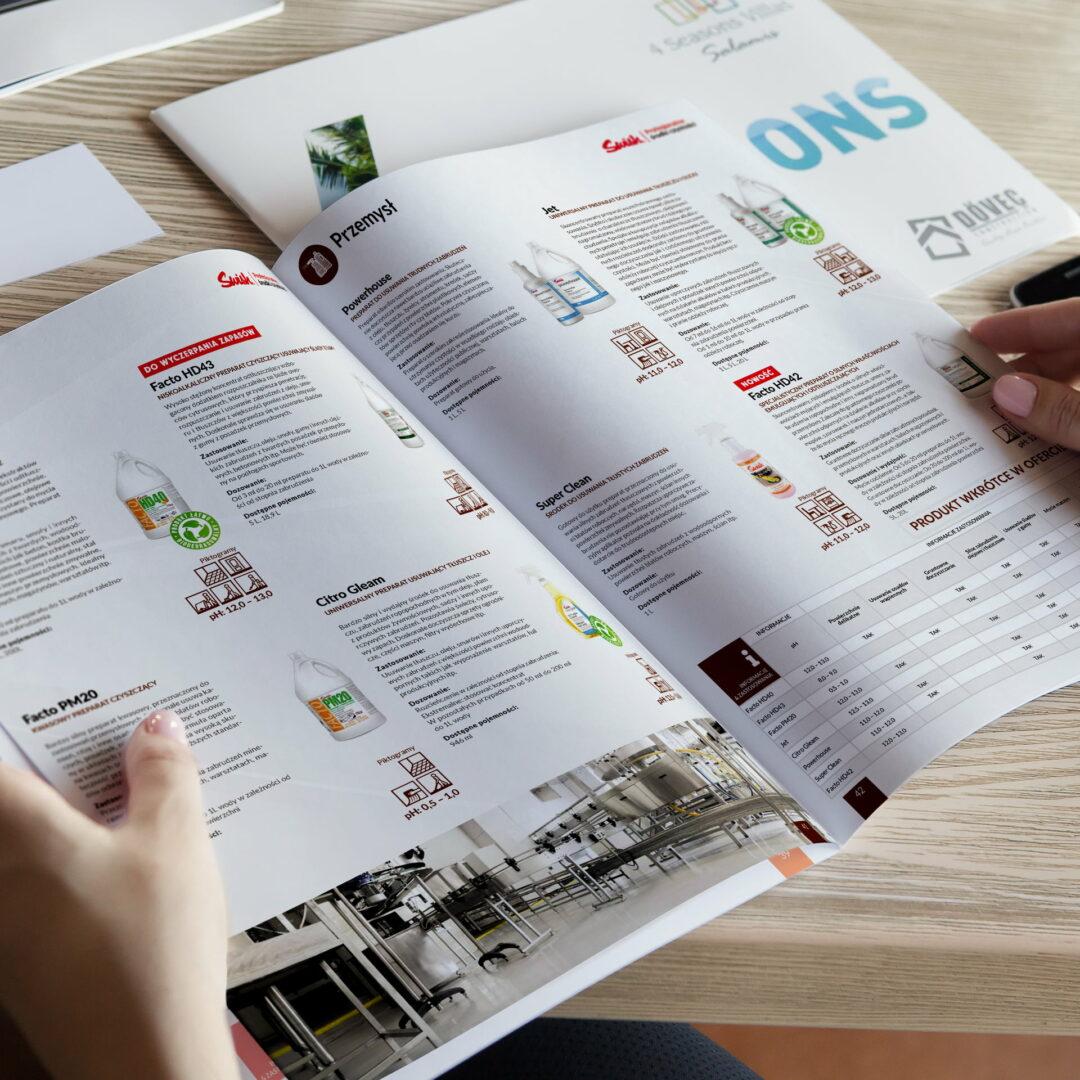 Katalog ze środkami czystości #swish zaprojektowany przez Studio Graficzne Wzór