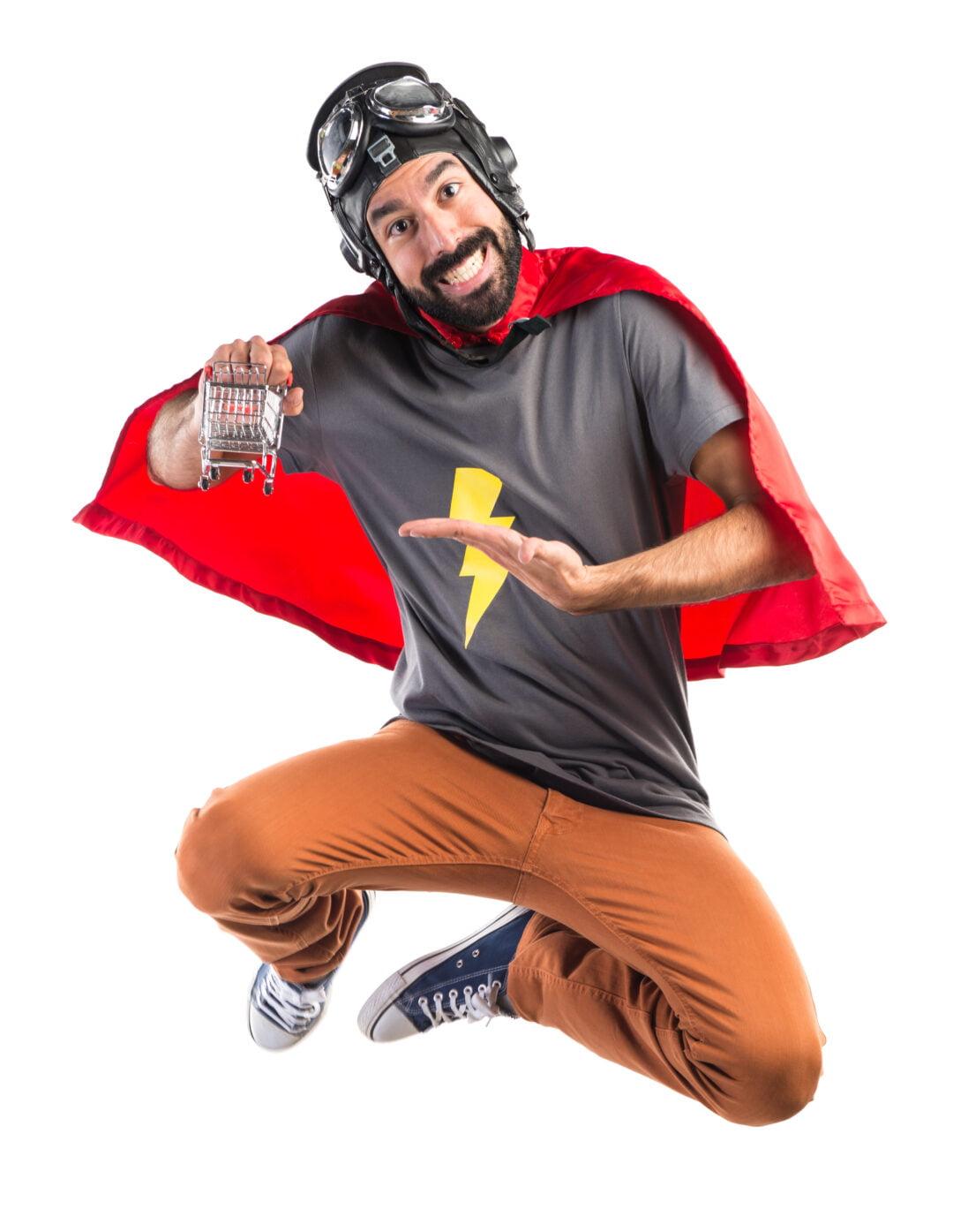 Zdjęcie klienta w przebraniu super bohatera