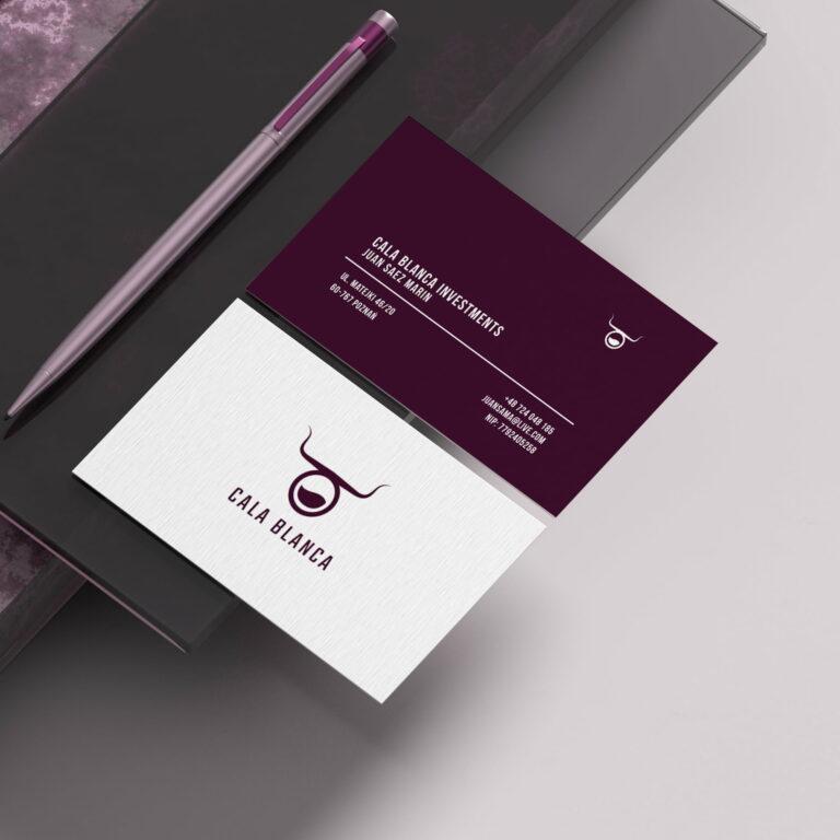 Projekt wizytówek dystrybutora win #cala-blanca
