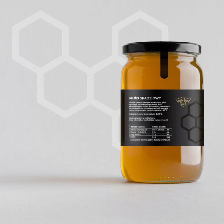 Projekt etykiety firmy spożywczej produkującej miód #pasieka-litwin