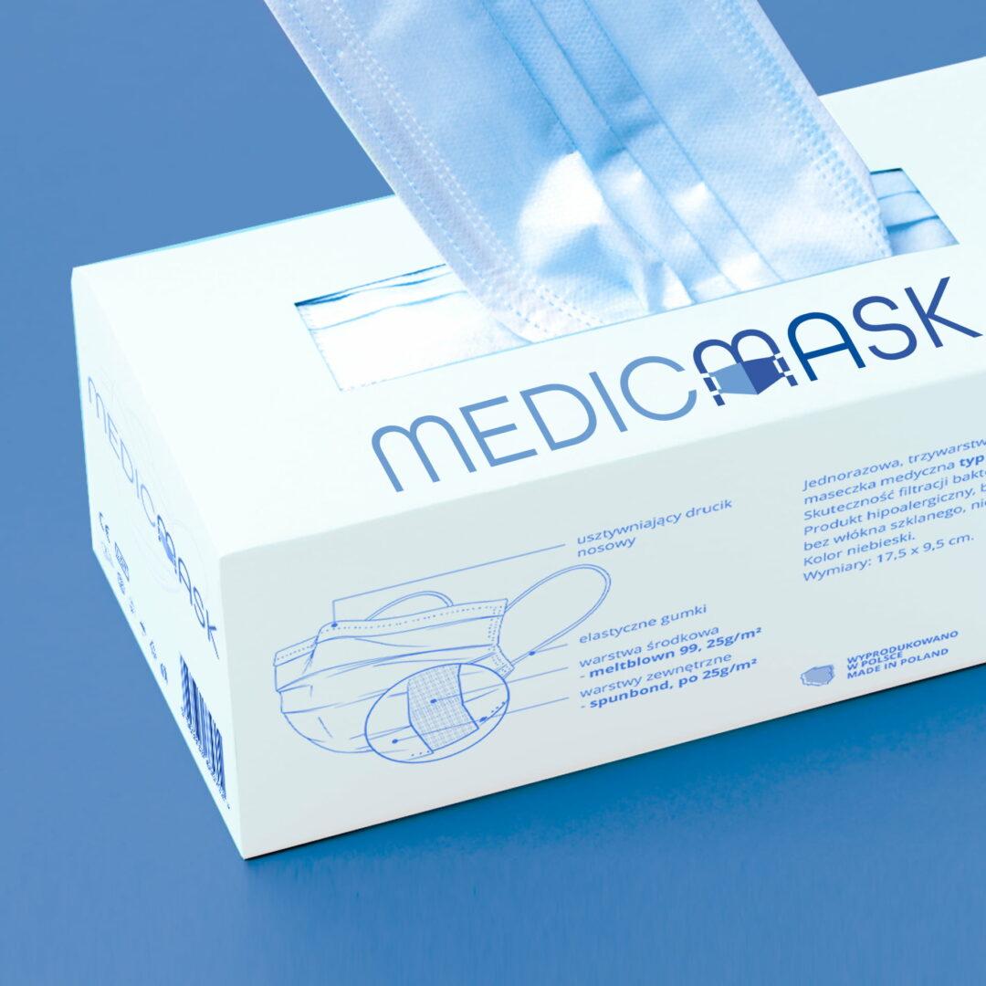 Projekt graficzny opakowania na maseczki firmy #medicmask