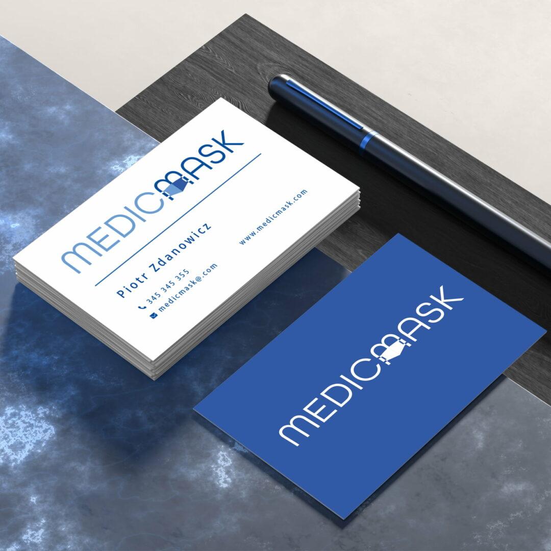 Projekt wizytówek firmy produkkującej maseczki #medicmask