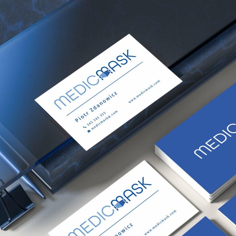 Prezentacja wizytówek zaprojektowanych przez Studio Graficzne Wzór dla producenta maseczek #medicmask
