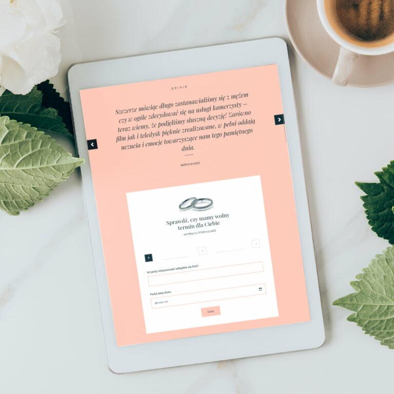 Wizualizacja projektu graficznego strony internetowej studia filmów ślubnych #mimoments