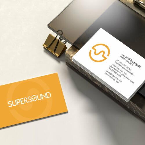 Wizualizacja projektu wizytówek sklepu muzycznego #supersound